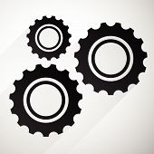 foto of rework  - Gears cogwheels icon graphics for maintenance repair manufacturing and development concepts - JPG