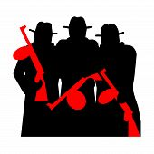 image of tommy-gun  - Gangsters with Tommy Gun silhouette illustration isolated over white background - JPG