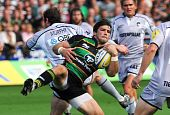 Northampton, Uk - Sept 05: Ben Foden Claims The Ball For The Saints During Northampton Saints Vs Lei