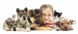 stock photo of rats  - child and set pets on a white background - JPG