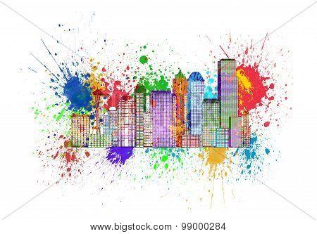 Seattle Skyline With Paint Splatter Illustration