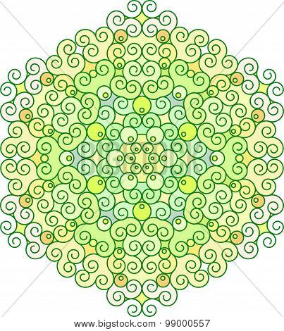 Abstract Vector Colorful Round Lace Design In Mono Line Style - Mandala, Decorative Element In Green