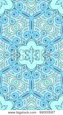 Seamless Abstract Tribal Pattern. Hand Drawn Ethnic Texture, Vector Illustration In Blue Tones.