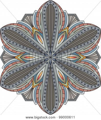 Abstract Vector Colorful Round Lace Design In Mono Line Style - Mandala, Decorative Element In Dark