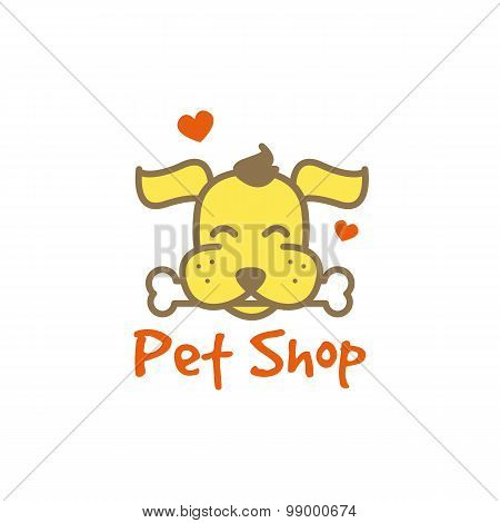 Vector cartoon yellow dog with bone logotype. Pet shop logo.