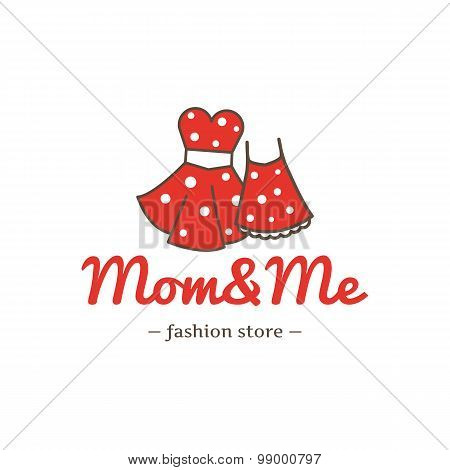Vector retro style dresses for mother and daughter logotype. Fashion clothes store logo.