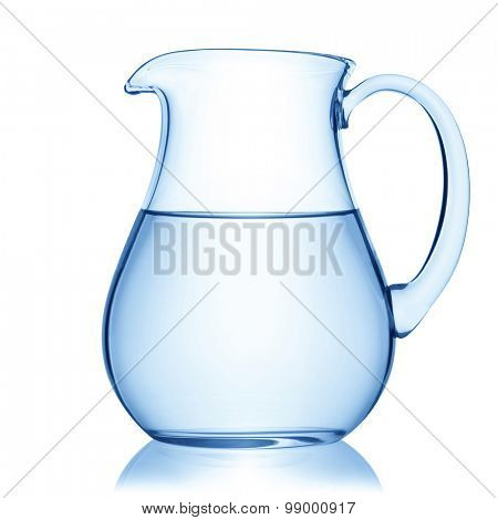 Glass pitcher of water, isolated on the white background, clipping path included.