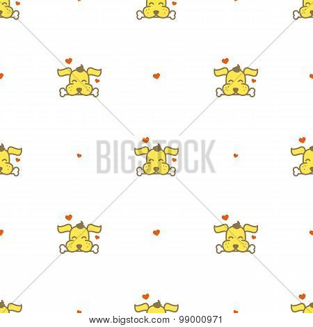 Vector cartoon yellow dog with a bone seamless pattern