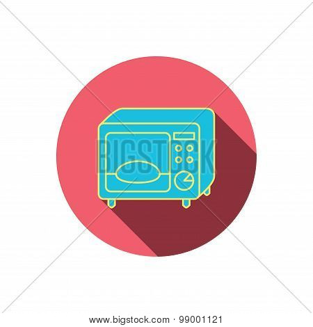 Microwave oven icon. Kitchen appliance sign.