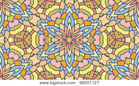 Seamless Abstract Tribal Pattern. Hand Drawn Ethnic Texture, Vector Illustration In Bright Colors.