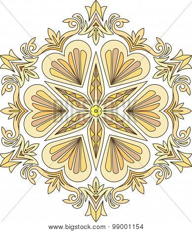 Abstract Vector Colorful Round Lace Design In Mono Line Style - Mandala, Decorative Element In Brigh
