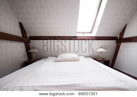 Bright Bedroom In Beige Color