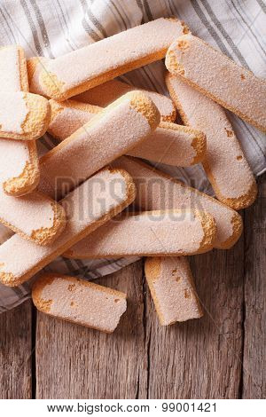 Savoiardi Biscuits Closeup On A Table. Vertical Top View