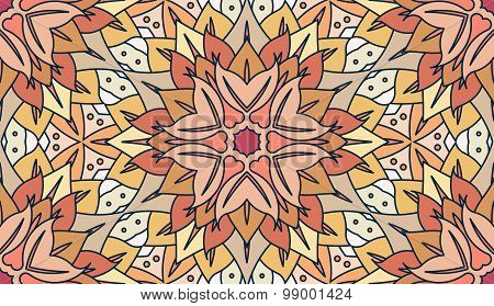Seamless Abstract Tribal Pattern. Hand Drawn Ethnic Texture, Vector Illustration In Bright, Red Tone