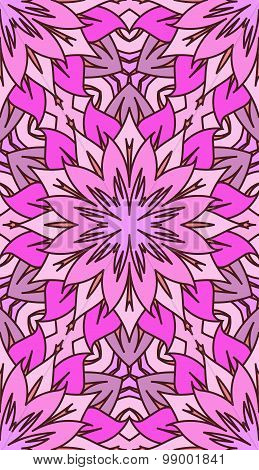 Seamless Abstract Tribal Pattern. Hand Drawn Ethnic Texture, Vector Illustration In Bright, Pink Ton