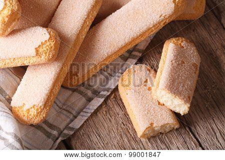 Cookies For Tiramisu Closeup On The Table. Horizontal Top View
