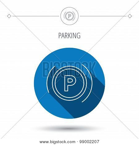 Parking icon. Dashboard sign.