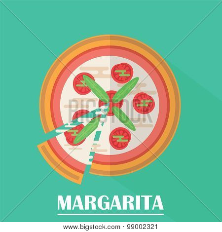 Margarita Pizza Vector Illustration.