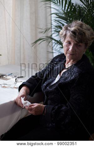 Sad Lonely Senior Woman