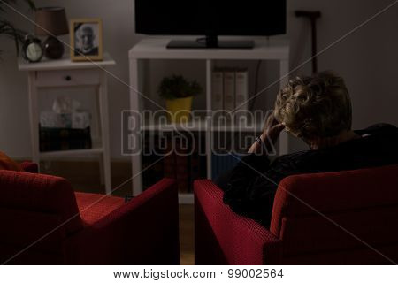 Lonely Woman Alone At Home