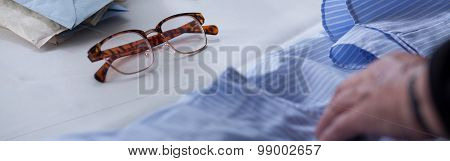 Glasses And Male Blue Shirt