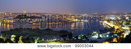 Golden Horn Night Panorama Halic In Turkish