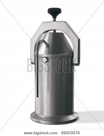 metal retro ussr coffeepot on white background