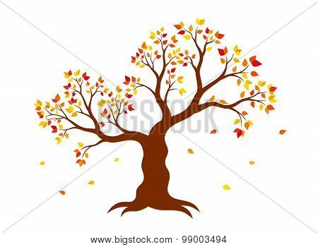 Vector illustration of autumn tree with yellow, red, orange leaves on white background