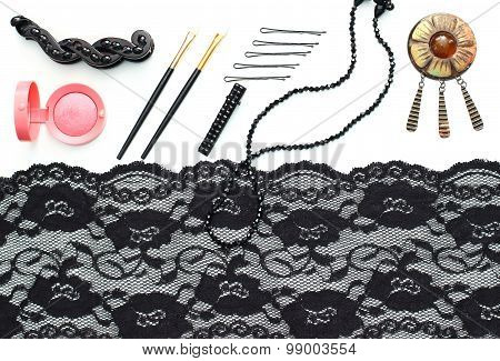 vintage beauty - make-up brushes, cosmetics and accessories