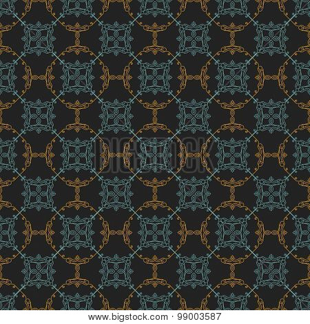 Seamless background in Arabic style. Gold, black, blue wallpaper with patterns for design. Traditional oriental decor