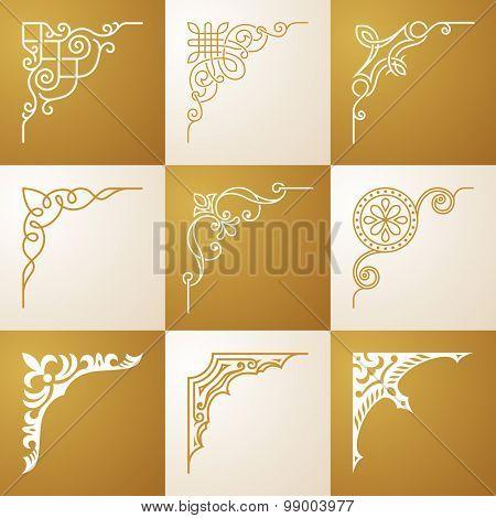Vintage design elements Corners vector illustration set