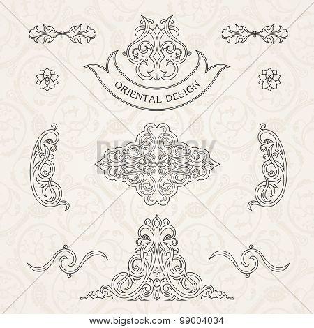 Vector set classic. Calligraphic design elements ornament decoration retro