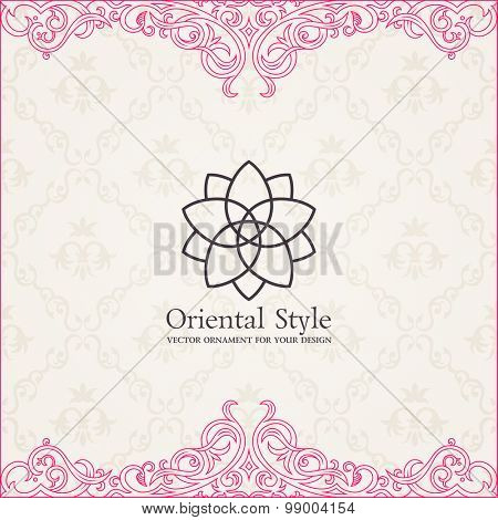 Background vector invitation vintage label. floral frame