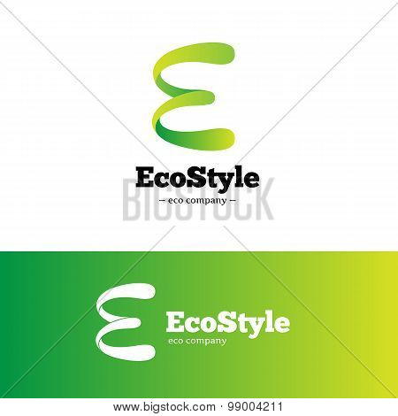 Vector green gradient E letter logo. Ecology logotype.
