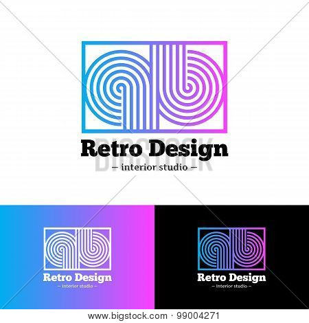 Vector bright abstract gradient logo. Q and B letters logotype with stripes in retro style