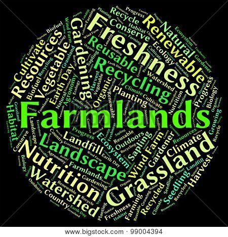 Farmlands Word Represents Text Cultivates And Farmstead
