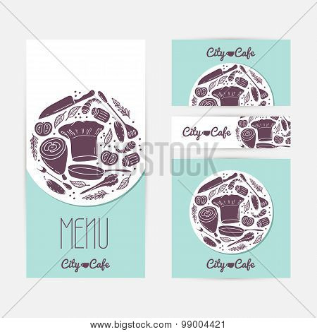 Set of identify cards templates with doodle food. Cafe branding. Template menu, business card, banne