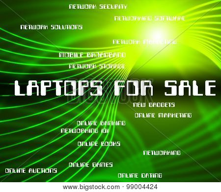 Laptops For Sale Indicates Internet Word And Monitor