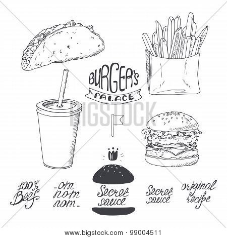 Sketched fast food set in black and white. Hand drawn illustration for design