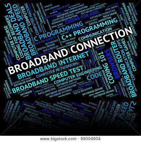 Broadband Connection Means World Wide Web And Computer