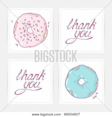 Thank you cards with hand lettering. Doodle design for donut shop, cafe or bakery
