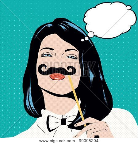 Pop Art Illustration With Girl Holding Mustache.