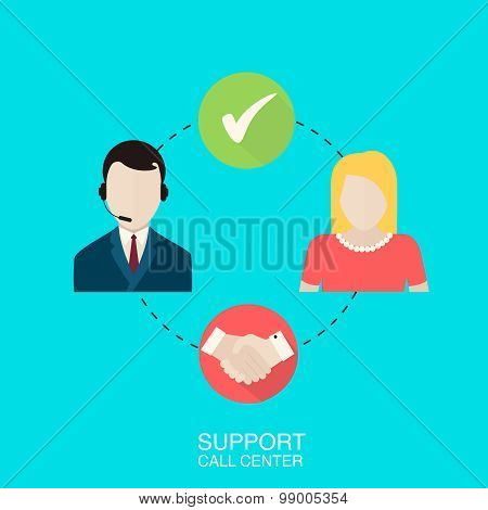 Support Call Center Vector Illustration.