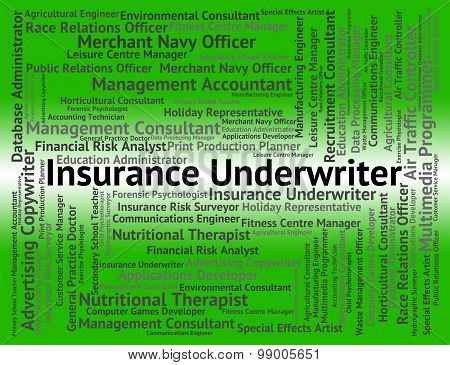 Insurance Underwriter Shows Occupations Protection And Guarantee
