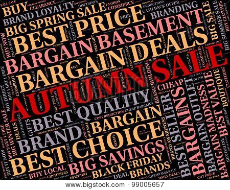 Autumn Sale Represents Discounts Words And Save