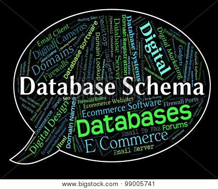 Database Schema Indicates Schematics Words And Word