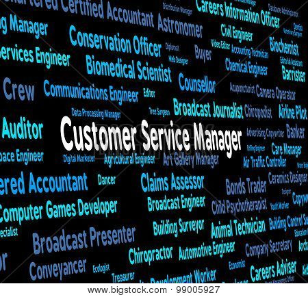 Customer Service Manager Indicates Clientele Clients And Head