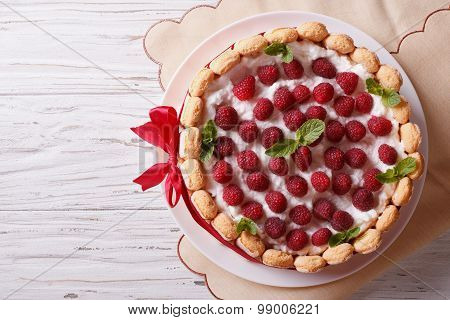 Raspberry Charlotte Cake With Savoiardi. Horizontal Top View