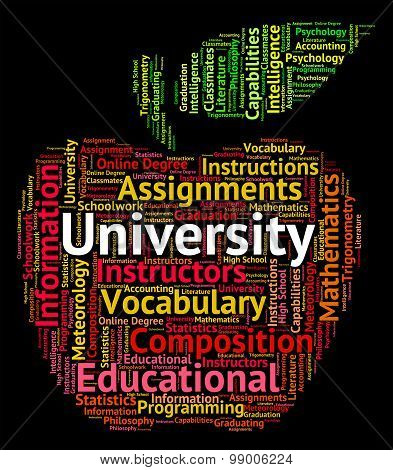 University Word Represents Educational Establishment And Academy