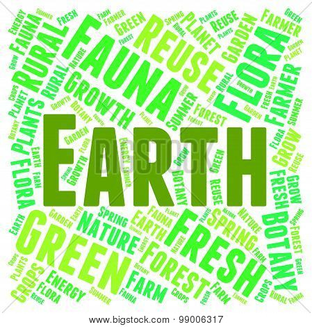 Earth Word Cloud Shows Go Green And Eco-friendly